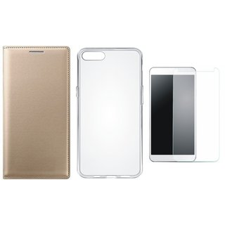 Lenovo A6600 Plus Leather Flip Cover with Silicon Back Cover, Tempered Glass