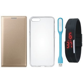 Oppo Neo 5 Leather Flip Cover with Silicon Back Cover, Digital Watch and USB LED Light