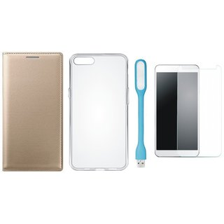 Oppo Neo 5 Leather Flip Cover with Silicon Back Cover, Tempered Glas and USB LED Light