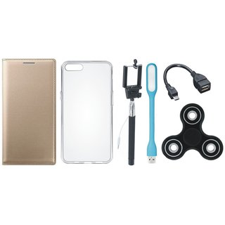 Lenovo A6600 Plus Leather Flip Cover with Spinner, Silicon Back Cover, Selfie Stick, LED Light and OTG Cable