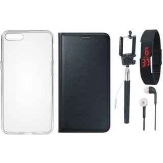 Lenovo A6600 Stylish Cover with Silicon Back Cover, Selfie Stick, Digtal Watch and Earphones