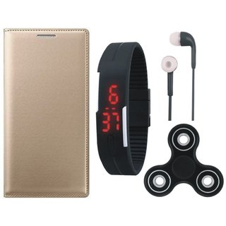 Oppo Neo 5 Leather Flip Cover with Spinner, Digital Watch and Earphones