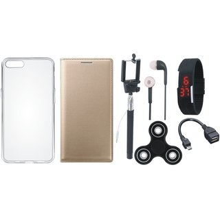 Lenovo A6600 Plus Leather Flip Cover with Spinner, Silicon Back Cover, Selfie Stick, Digtal Watch, Earphones and OTG Cable
