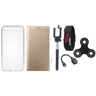 Oppo Neo 5 Leather Flip Cover with Spinner, Silicon Back Cover, Selfie Stick, Digtal Watch and OTG Cable