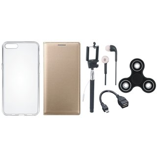 Oppo Neo 5 Leather Flip Cover with Spinner, Silicon Back Cover, Selfie Stick, Earphones and OTG Cable