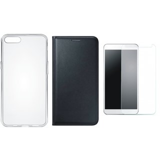 Lenovo A6600 Plus Premium Leather Cover with Silicon Back Cover, Tempered Glass