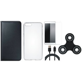 Oppo Neo 5 Premium Leather Cover with Spinner, Silicon Back Cover, Tempered Glass and USB Cable