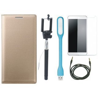 Oppo Neo 5 Premium Leather Cover with Free Selfie Stick, Tempered Glass, LED Light and AUX Cable