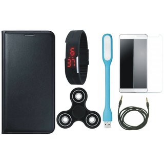 Lenovo A6600 Plus Premium Leather Cover with Free Spinner, Digital LED Watch, Tempered Glass, LED Light and AUX Cable