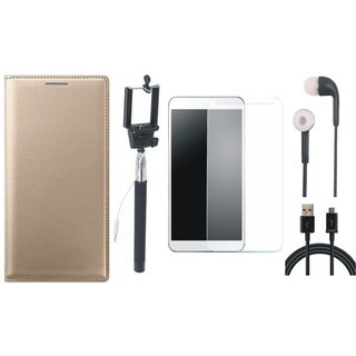 Oppo Neo 5 Premium Leather Cover with Free Selfie Stick, Tempered Glass, Earphones and USB Cable