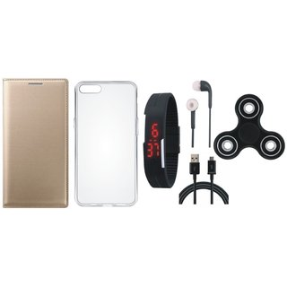 Oppo Neo 5 Cover with Spinner, Silicon Back Cover, Digital Watch, Earphones and USB Cable