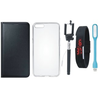 Lenovo A6600 Plus Cover with Silicon Back Cover, Selfie Stick, Digtal Watch and USB LED Light