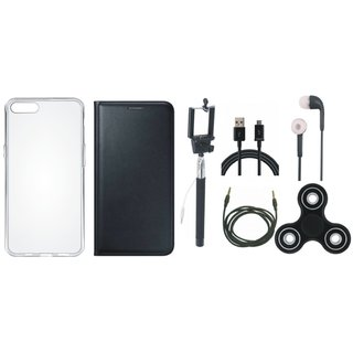 Oppo Neo 5 Stylish Cover with Spinner, Silicon Back Cover, Selfie Stick, Earphones, USB Cable and AUX Cable