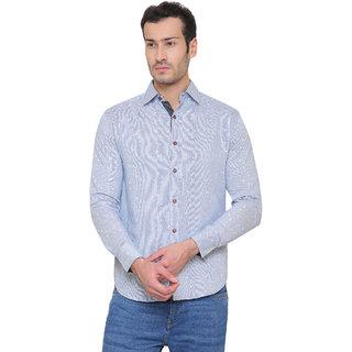 Glam Tree Men's Blue Printed Slim Fit Casual Shirt