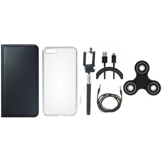 Oppo Neo 7 Leather Flip Cover with Spinner, Silicon Back Cover, Selfie Stick, USB Cable and AUX Cable