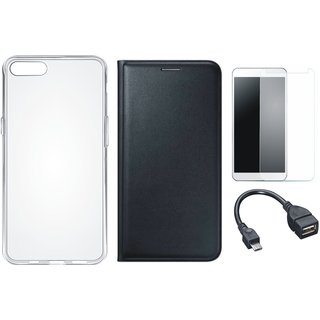 Lenovo A7700 Leather Flip Cover with Silicon Back Cover, Tempered Glass and OTG Cable
