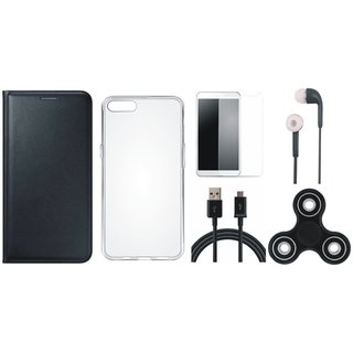 Oppo Neo 7 Leather Flip Cover with Spinner, Silicon Back Cover, Earphones, Tempered Glass and USB Cable