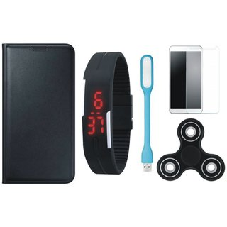 Lenovo A7700 Leather Flip Cover with Free Spinner, Digital LED Watch, Tempered Glass and LED Light