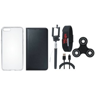 Lenovo A7700 Leather Flip Cover with Spinner, Silicon Back Cover, Selfie Stick, Digtal Watch and USB Cable