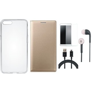 Lenovo A7700 Leather Flip Cover with Silicon Back Cover, Earphones, Tempered Glass and USB Cable