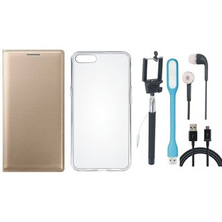 Lenovo A7700 Leather Flip Cover with Silicon Back Cover, Selfie Stick, Earphones, USB LED Light and USB Cable