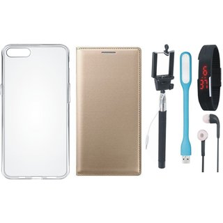 Lenovo A7700 Leather Flip Cover with Silicon Back Cover, Selfie Stick, Digtal Watch, Earphones and USB LED Light