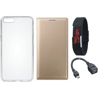 Lenovo A7700 Leather Flip Cover with Silicon Back Cover, Digital Watch and OTG Cable