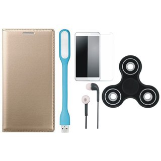Lenovo A7700 Leather Flip Cover with Spinner, Tempered Glass, Earphones and USB LED Light