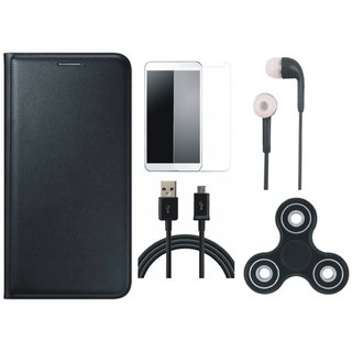 Lenovo A7700 Premium Leather Cover with Spinner, Tempered Glass, Earphones and USB Cable