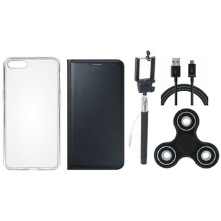 Oppo Neo 7 Premium Leather Cover with Spinner, Silicon Back Cover, Selfie Stick and USB Cable