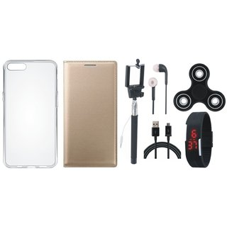 Oppo Neo 7 Premium Leather Cover with Spinner, Silicon Back Cover, Selfie Stick, Digtal Watch, Earphones and USB Cable