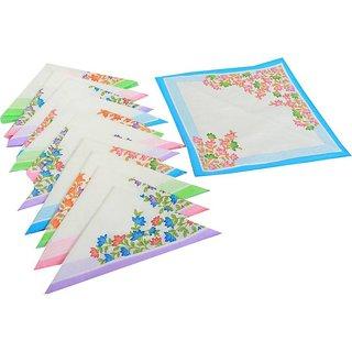 sparkle Set of 12 Cotton Printed Hankerchief(30x30 Cm)