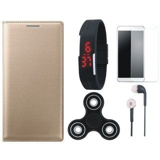Lenovo A7700 Premium Leather Cover with Free Spinner, Digital LED Watch, Tempered Glass and Earphones
