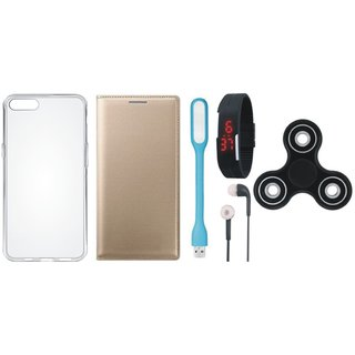 Lenovo A7700 Premium Leather Cover with Spinner, Silicon Back Cover, Digital Watch, Earphones and USB LED Light