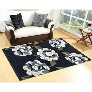 Manvi Creations New Design Black Chenille Carpet