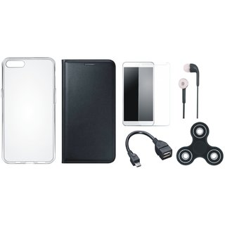 Oppo Neo 7 Cover with Spinner, Silicon Back Cover, Tempered Glass, Earphones and OTG Cable