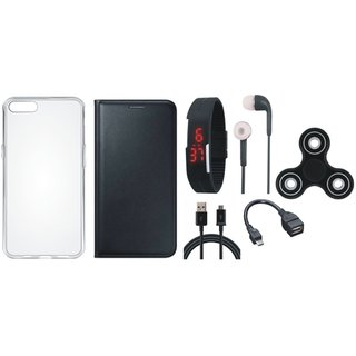 Oppo Neo 7 Stylish Cover with Spinner, Silicon Back Cover, Digital Watch, Earphones, OTG Cable and USB Cable