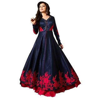 NEW MARUTI ENTERPRISE semistiched banglori silk kurta gown with mirror embroidery type dress material