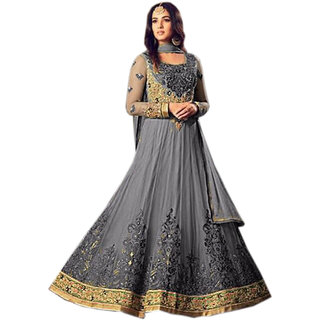 c8a48f3337afd Anarkali For Women s ( Fashion Care Net Embroidered Anarkali Dress color  Grey ideal for Women s KCMS703GREY)