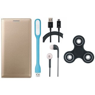 Motorola Moto E3 Leather Flip Cover with Spinner, Earphones, USB LED Light and USB Cable