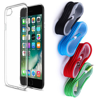 iPhone 6S Soft Transparent TPU Back Cover and Braided Nylon USB Cable