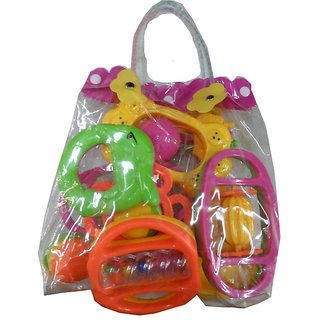 DDH Pastic Baby Pouch Rattle (Pack of 7 Pcs )
