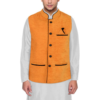 Men's Modi Jacket / Nehru Jacket Mustered Yellow New Fashion Winter Jacket Lowest Price For Party Wear