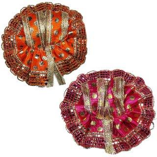 Beautifully Handcrafted Orange and Pink Color Laddu Gopal Poshak/Dress 9cm, Laddu Gopal Poshak 1 no, Krishna dresses, Kr