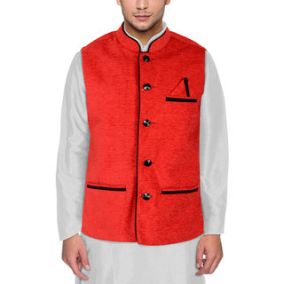 Men's Modi Jacket / Nehru Jacket Red Colour New Fashion Winter Jacket Lowest Price For Party Wear