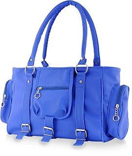 Clementine Blue Plain PU Handbag (sskclem105)