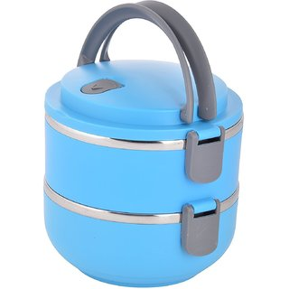Stainless Steel 2 Layer insulated Lunch Box Multicolour 1 Pc