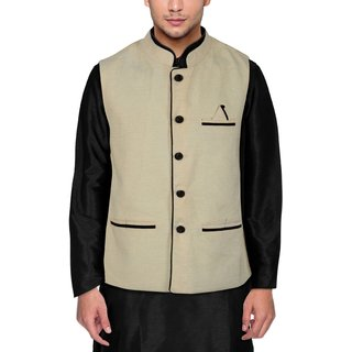 Men's Modi Jacket / Nehru Jacket Cream Colour New Fashion Winter Jacket Lowest Price For Party Wear