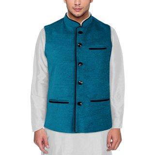 Men's Modi Jacket / Nehru Jacket Rama Green Colour New Fashion Winter Jacket Lowest Price For Party Wear