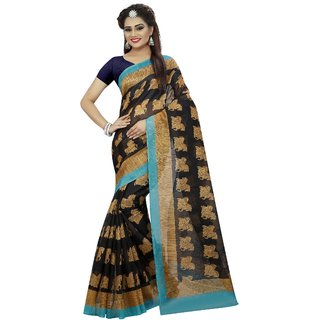 NEW MARUTI ENTERPRISE  Black Bhagalpuri Silk Party  Sarees